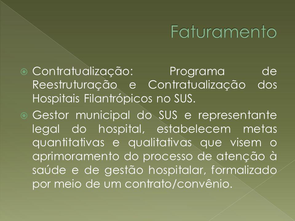 Contratualização: Programa de Reestruturação e Contratualização dos Hospitais Filantrópicos no SUS. Gestor municipal do SUS e representante legal do h