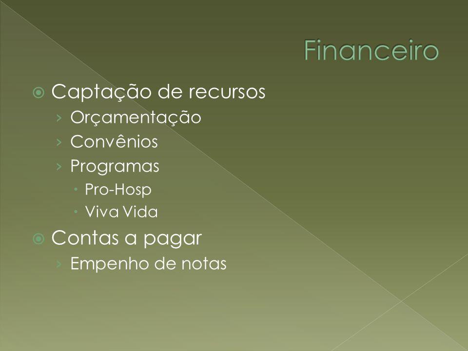 Captação de recursos Orçamentação Convênios Programas Pro-Hosp Viva Vida Contas a pagar Empenho de notas