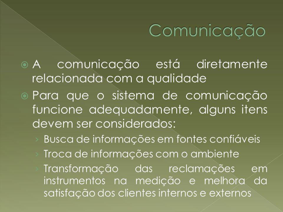 A comunicação está diretamente relacionada com a qualidade Para que o sistema de comunicação funcione adequadamente, alguns itens devem ser considerad