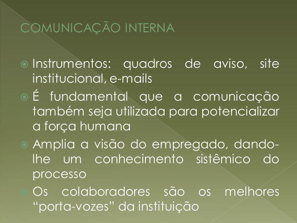 COMUNICAÇÃO INTERNA Instrumentos: quadros de aviso, site institucional, e-mails É fundamental que a comunicação também seja utilizada para potencializ