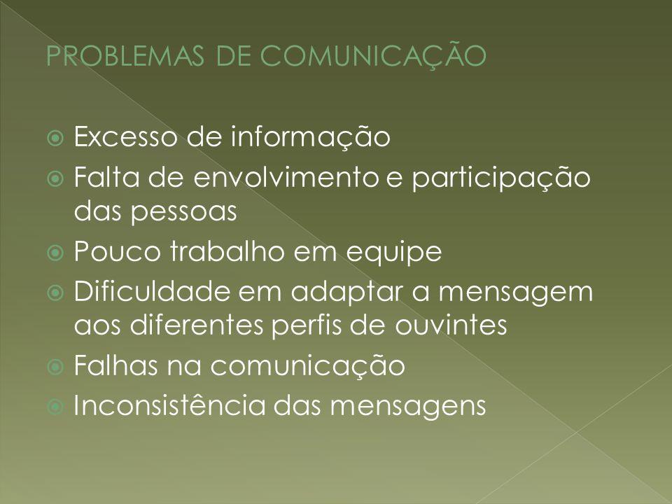 PROBLEMAS DE COMUNICAÇÃO Excesso de informação Falta de envolvimento e participação das pessoas Pouco trabalho em equipe Dificuldade em adaptar a mens