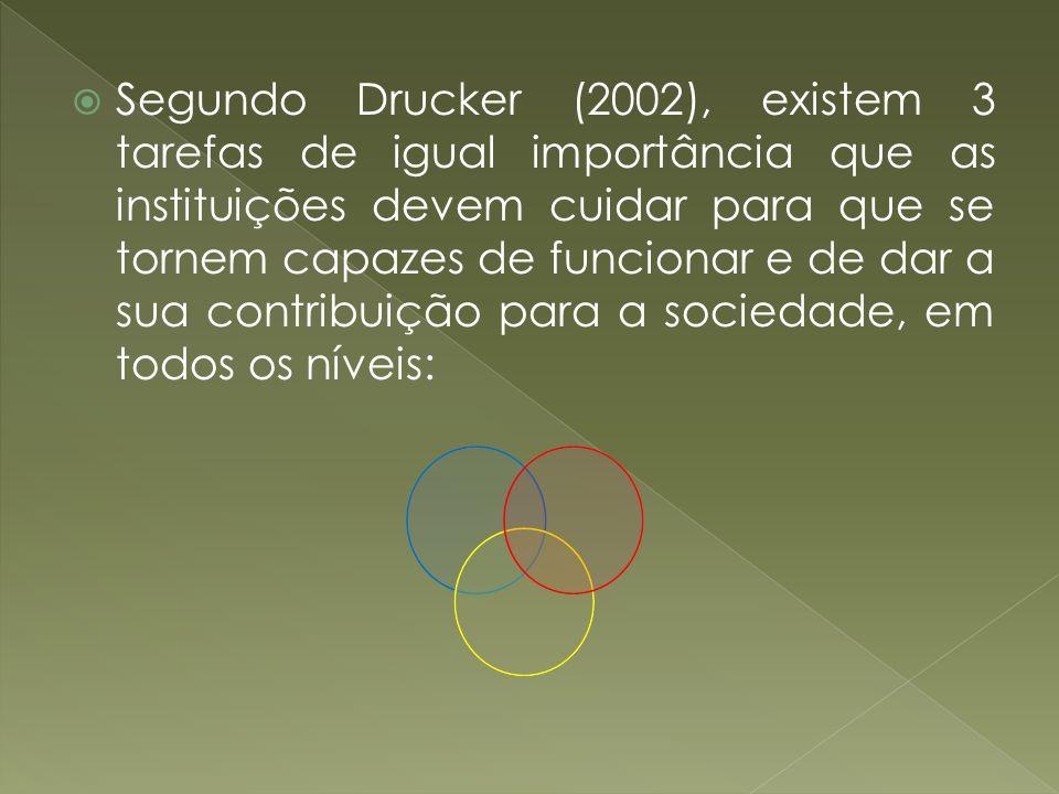 Segundo Drucker (2002), existem 3 tarefas de igual importância que as instituições devem cuidar para que se tornem capazes de funcionar e de dar a sua