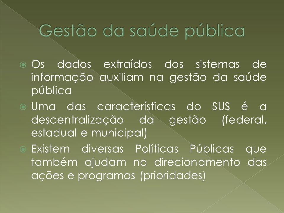 Os dados extraídos dos sistemas de informação auxiliam na gestão da saúde pública Uma das características do SUS é a descentralização da gestão (feder