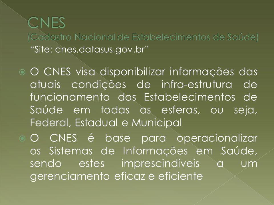 Site: cnes.datasus.gov.br O CNES visa disponibilizar informações das atuais condições de infra-estrutura de funcionamento dos Estabelecimentos de Saúd