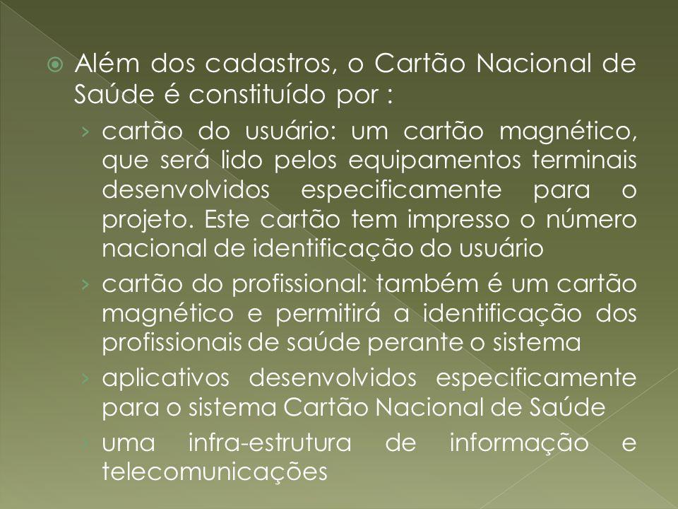 Além dos cadastros, o Cartão Nacional de Saúde é constituído por : cartão do usuário: um cartão magnético, que será lido pelos equipamentos terminais