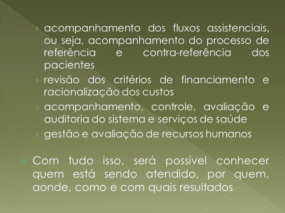 acompanhamento dos fluxos assistenciais, ou seja, acompanhamento do processo de referência e contra-referência dos pacientes revisão dos critérios de