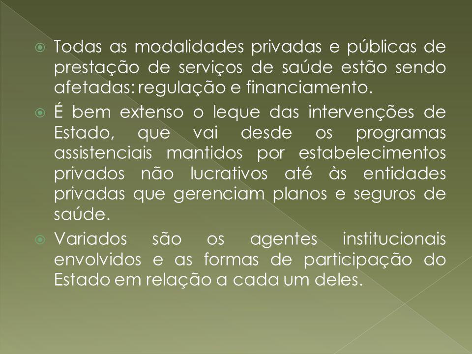 Todas as modalidades privadas e públicas de prestação de serviços de saúde estão sendo afetadas: regulação e financiamento. É bem extenso o leque das