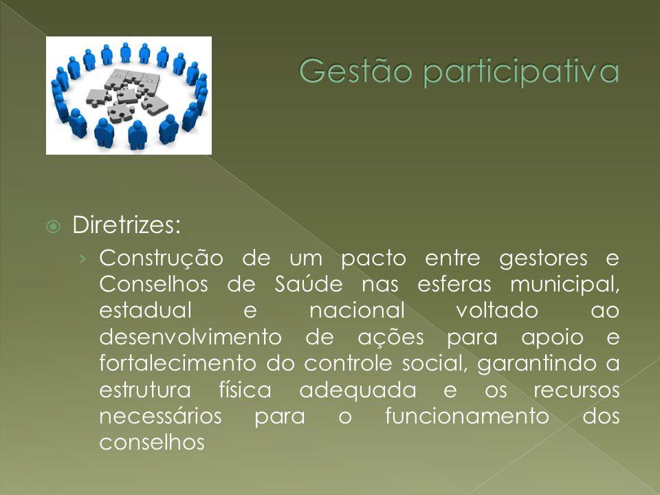 Diretrizes: Construção de um pacto entre gestores e Conselhos de Saúde nas esferas municipal, estadual e nacional voltado ao desenvolvimento de ações