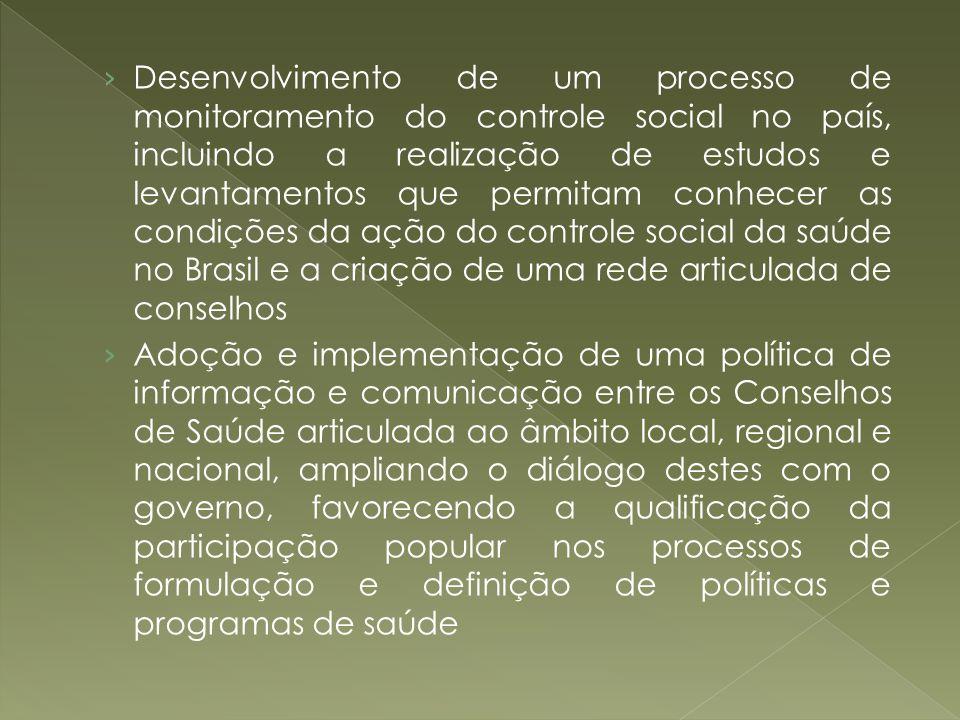 Desenvolvimento de um processo de monitoramento do controle social no país, incluindo a realização de estudos e levantamentos que permitam conhecer as