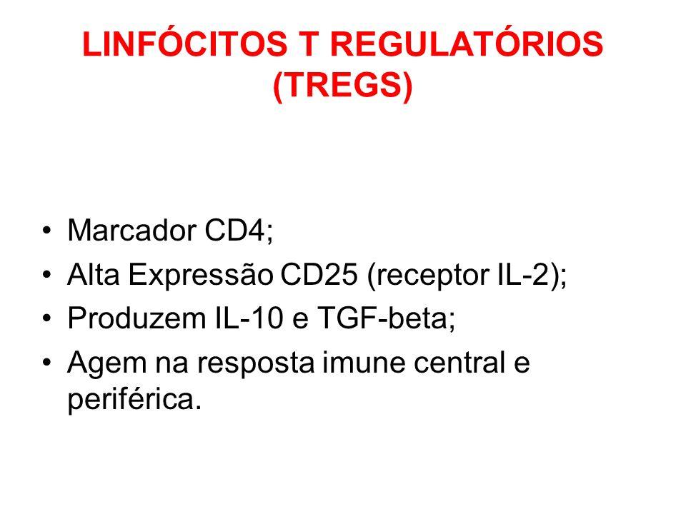 LINFÓCITOS T REGULATÓRIOS (TREGS) Marcador CD4; Alta Expressão CD25 (receptor IL-2); Produzem IL-10 e TGF-beta; Agem na resposta imune central e perif