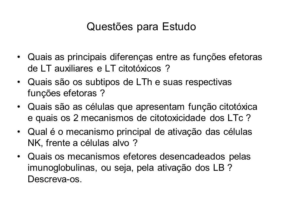 Questões para Estudo Quais as principais diferenças entre as funções efetoras de LT auxiliares e LT citotóxicos ? Quais são os subtipos de LTh e suas