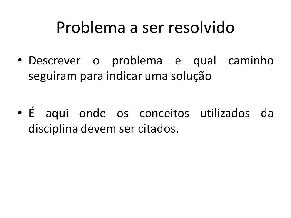 Problema a ser resolvido Descrever o problema e qual caminho seguiram para indicar uma solução É aqui onde os conceitos utilizados da disciplina devem