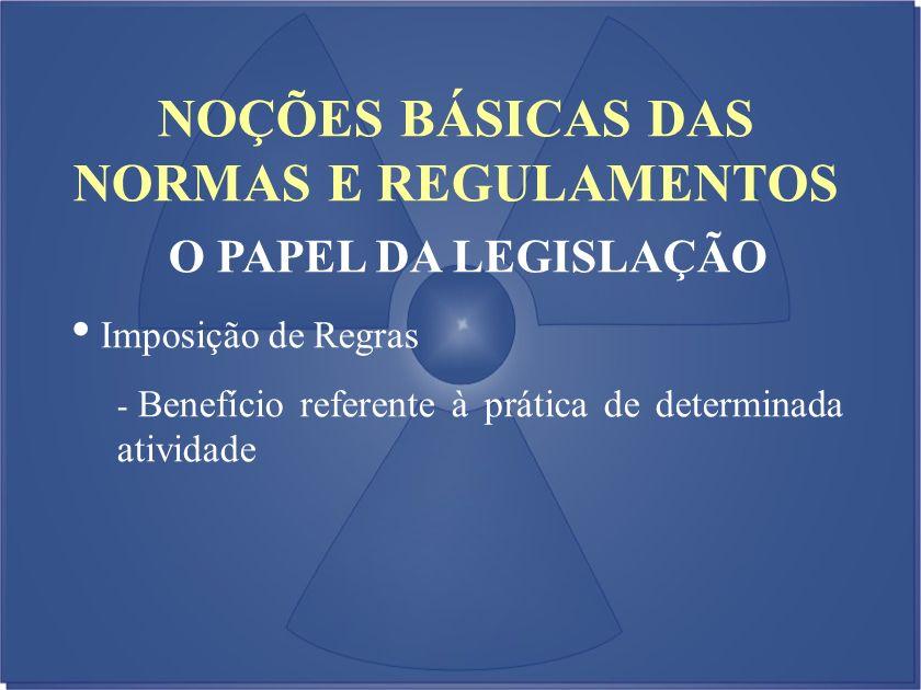 NOÇÕES BÁSICAS DAS NORMAS E REGULAMENTOS O PAPEL DA LEGISLAÇÃO Imposição de Regras - Benefício referente à prática de determinada atividade