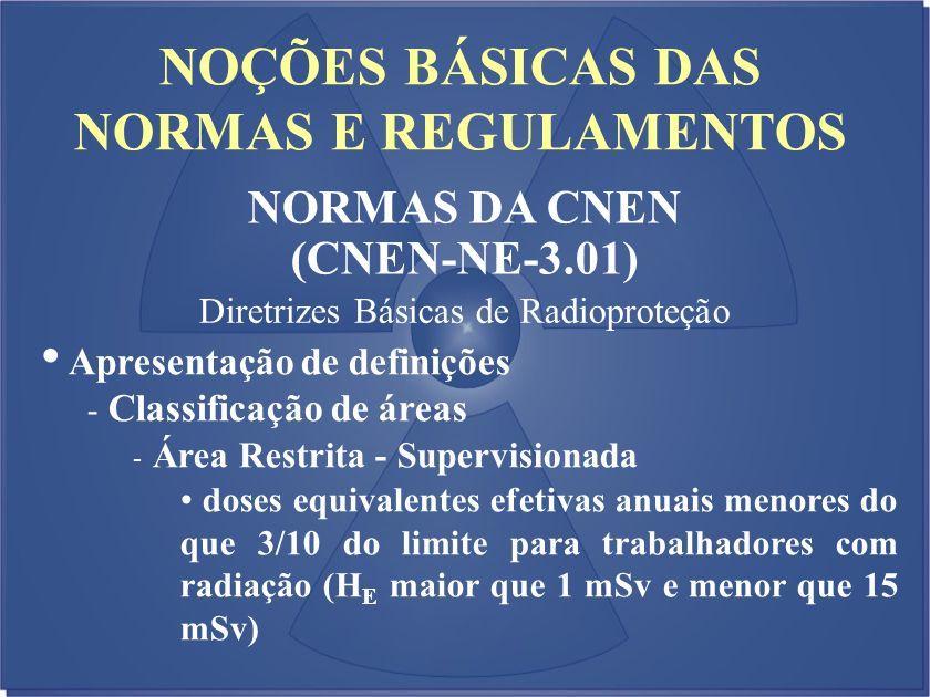 NOÇÕES BÁSICAS DAS NORMAS E REGULAMENTOS NORMAS DA CNEN (CNEN-NE-3.01) Diretrizes Básicas de Radioproteção Apresentação de definições - Classificação
