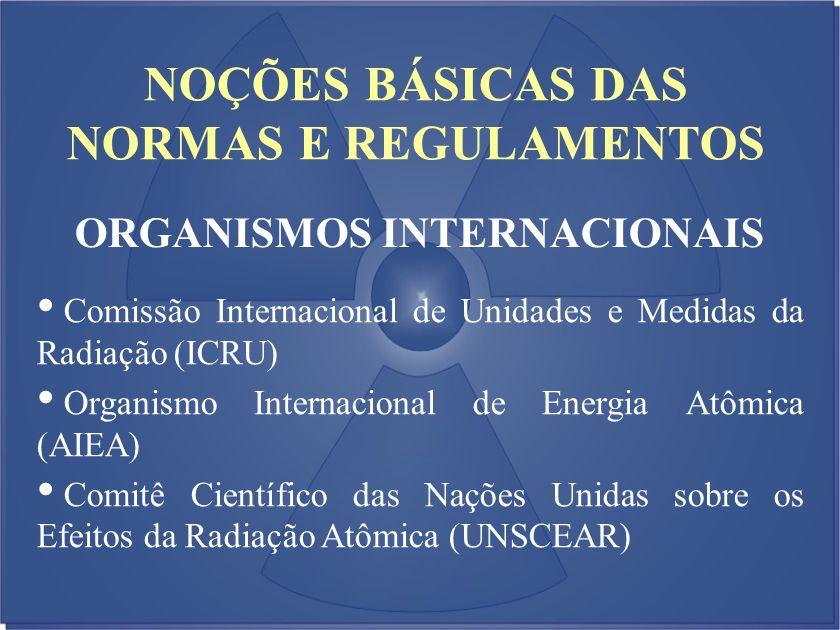 NOÇÕES BÁSICAS DAS NORMAS E REGULAMENTOS ORGANISMOS INTERNACIONAIS Comissão Internacional de Unidades e Medidas da Radiação (ICRU) Organismo Internaci