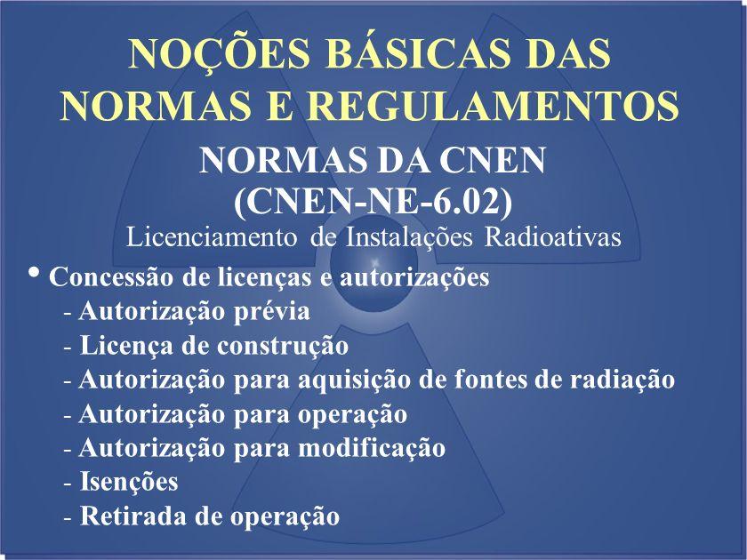 NOÇÕES BÁSICAS DAS NORMAS E REGULAMENTOS NORMAS DA CNEN (CNEN-NE-6.02) Licenciamento de Instalações Radioativas Concessão de licenças e autorizações -