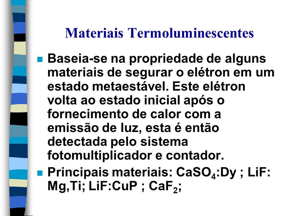 Materiais Termoluminescentes n Baseia-se na propriedade de alguns materiais de segurar o elétron em um estado metaestável.