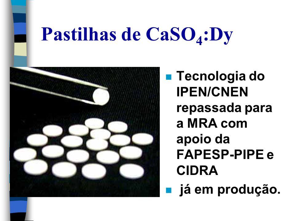 Pastilhas de CaSO 4 :Dy n Tecnologia do IPEN/CNEN repassada para a MRA com apoio da FAPESP-PIPE e CIDRA n já em produção.