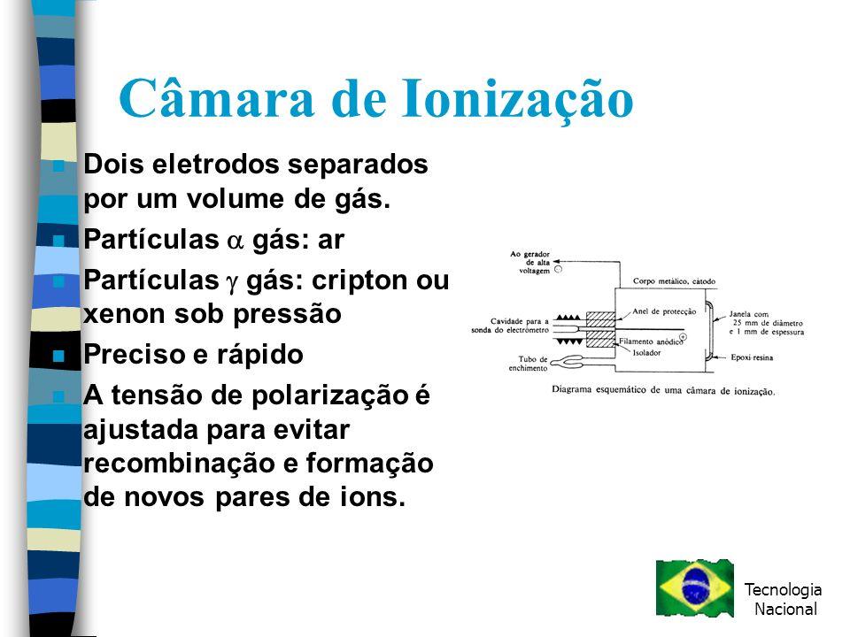 Câmara de Ionização n Dois eletrodos separados por um volume de gás.