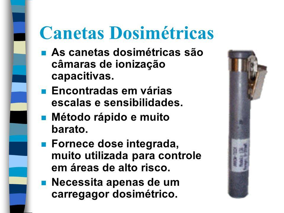 Canetas Dosimétricas n As canetas dosimétricas são câmaras de ionização capacitivas.