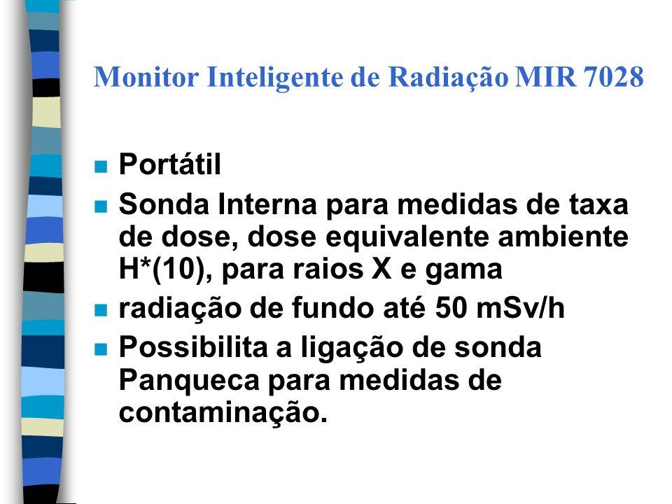 Monitor Inteligente de Radiação MIR 7028 n Portátil n Sonda Interna para medidas de taxa de dose, dose equivalente ambiente H*(10), para raios X e gama n radiação de fundo até 50 mSv/h n Possibilita a ligação de sonda Panqueca para medidas de contaminação.