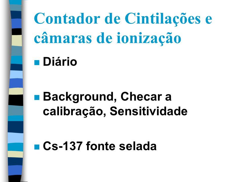 Contador de Cintilações e câmaras de ionização n Diário n Background, Checar a calibração, Sensitividade n Cs-137 fonte selada