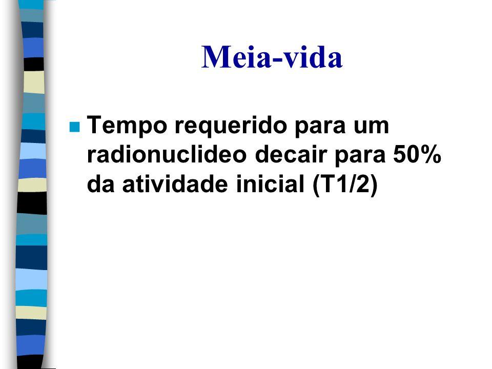 Meia-vida n Tempo requerido para um radionuclideo decair para 50% da atividade inicial (T1/2)