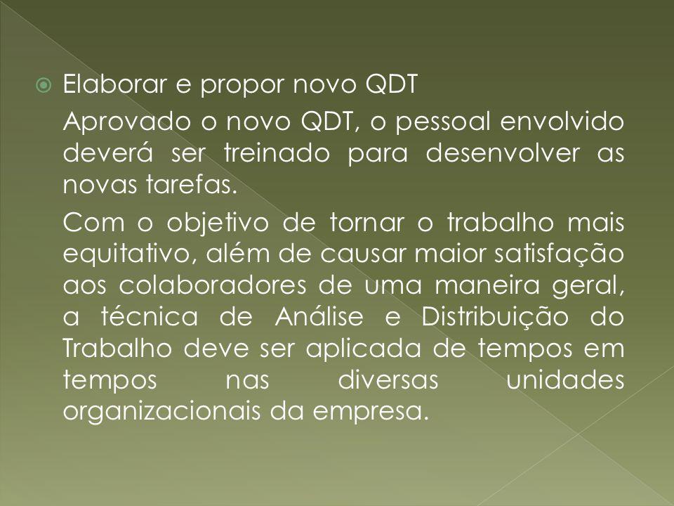 Elaborar e propor novo QDT Aprovado o novo QDT, o pessoal envolvido deverá ser treinado para desenvolver as novas tarefas. Com o objetivo de tornar o