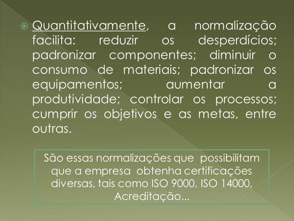 Quantitativamente, a normalização facilita: reduzir os desperdícios; padronizar componentes; diminuir o consumo de materiais; padronizar os equipament