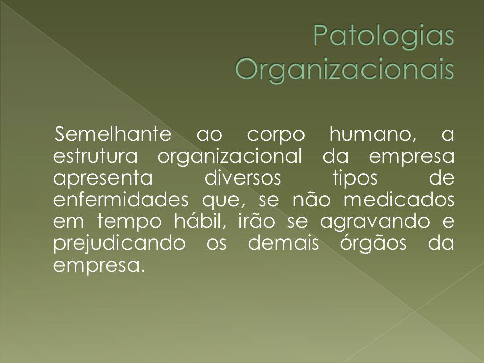 Semelhante ao corpo humano, a estrutura organizacional da empresa apresenta diversos tipos de enfermidades que, se não medicados em tempo hábil, irão