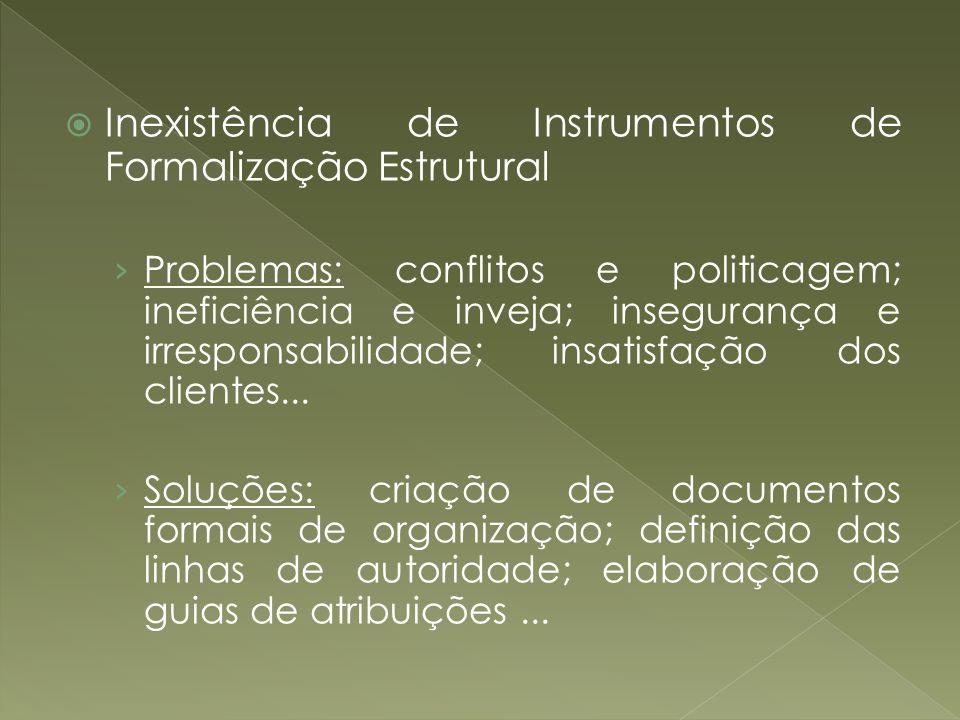 Inexistência de Instrumentos de Formalização Estrutural Problemas: conflitos e politicagem; ineficiência e inveja; insegurança e irresponsabilidade; i