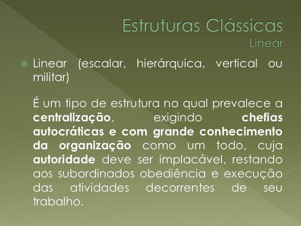 Linear (escalar, hierárquica, vertical ou militar) É um tipo de estrutura no qual prevalece a centralização, exigindo chefias autocráticas e com grand