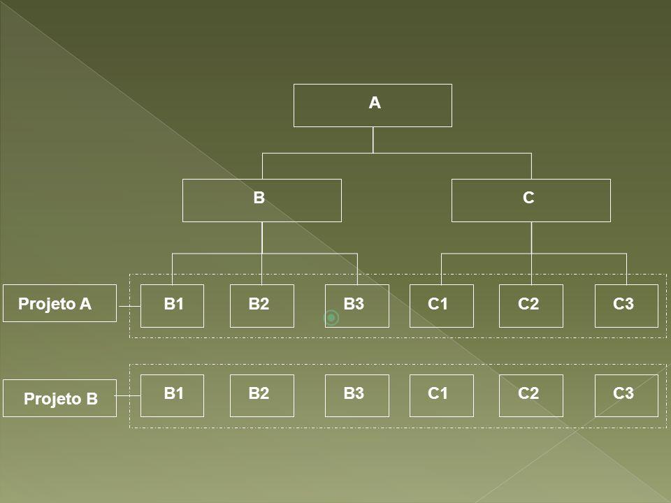A BC B2B3C1C2C3B1 B2B3C1C2C3B1 Projeto A Projeto B