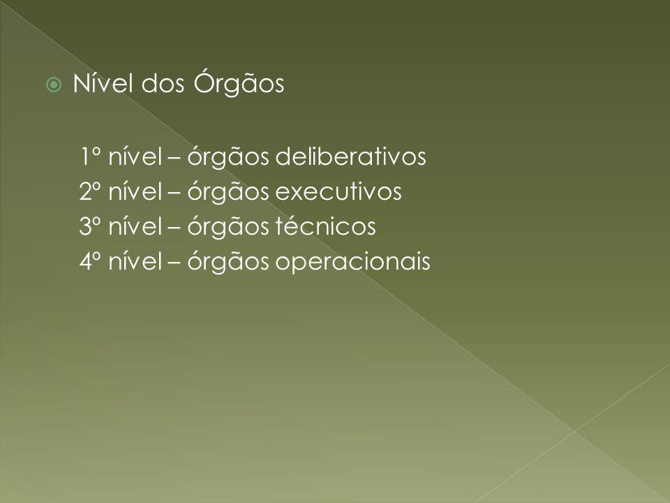 Nível dos Órgãos 1º nível – órgãos deliberativos 2º nível – órgãos executivos 3º nível – órgãos técnicos 4º nível – órgãos operacionais