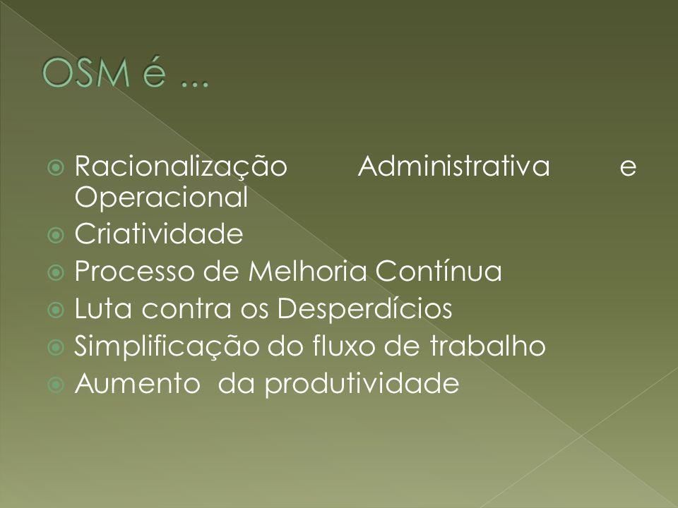Racionalização Administrativa e Operacional Criatividade Processo de Melhoria Contínua Luta contra os Desperdícios Simplificação do fluxo de trabalho