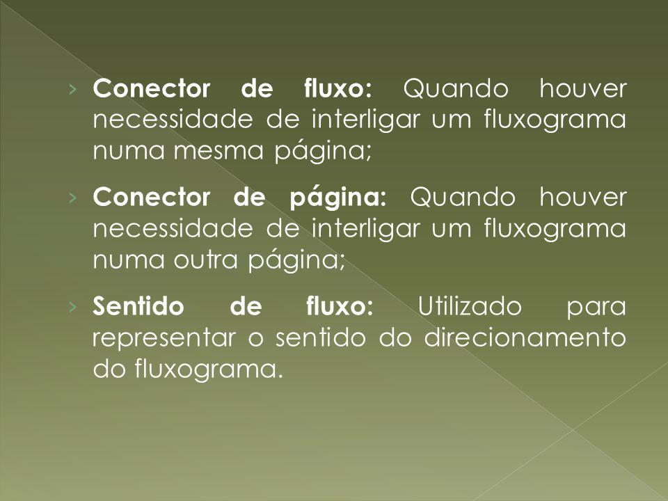 Conector de fluxo: Quando houver necessidade de interligar um fluxograma numa mesma página; Conector de página: Quando houver necessidade de interliga