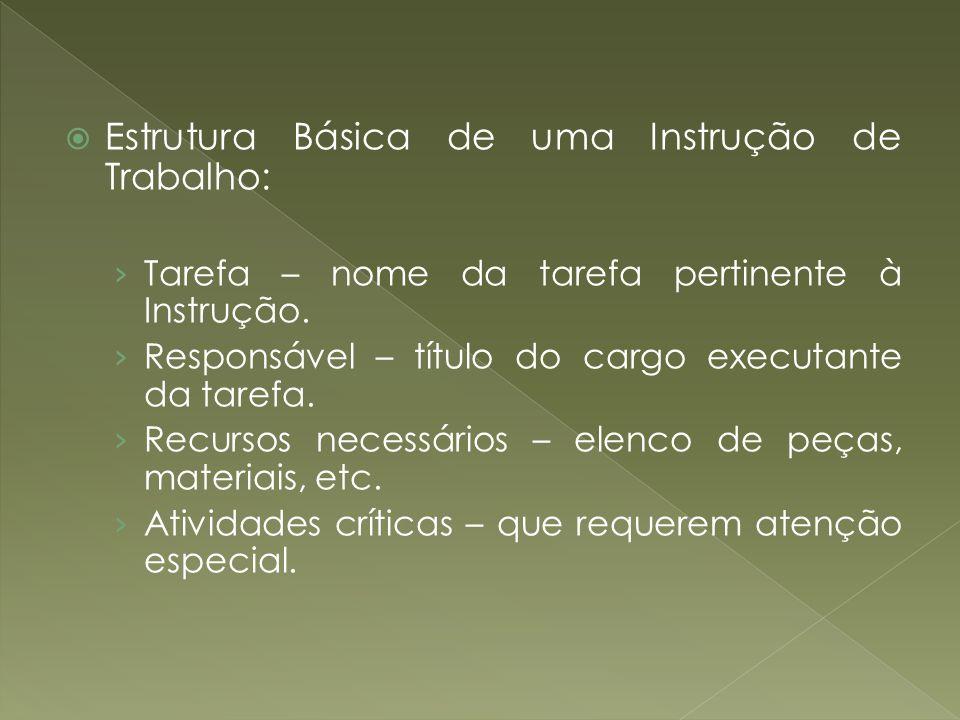 Estrutura Básica de uma Instrução de Trabalho: Tarefa – nome da tarefa pertinente à Instrução. Responsável – título do cargo executante da tarefa. Rec