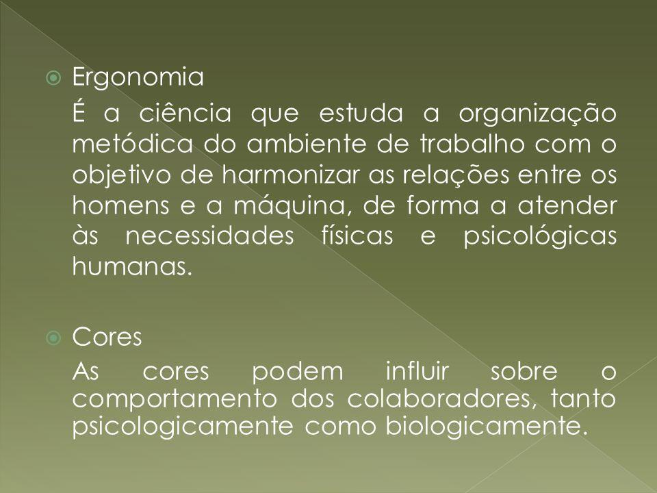 Ergonomia É a ciência que estuda a organização metódica do ambiente de trabalho com o objetivo de harmonizar as relações entre os homens e a máquina,