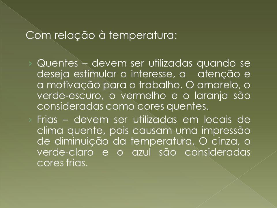 Com relação à temperatura: Quentes – devem ser utilizadas quando se deseja estimular o interesse, a atenção e a motivação para o trabalho. O amarelo,