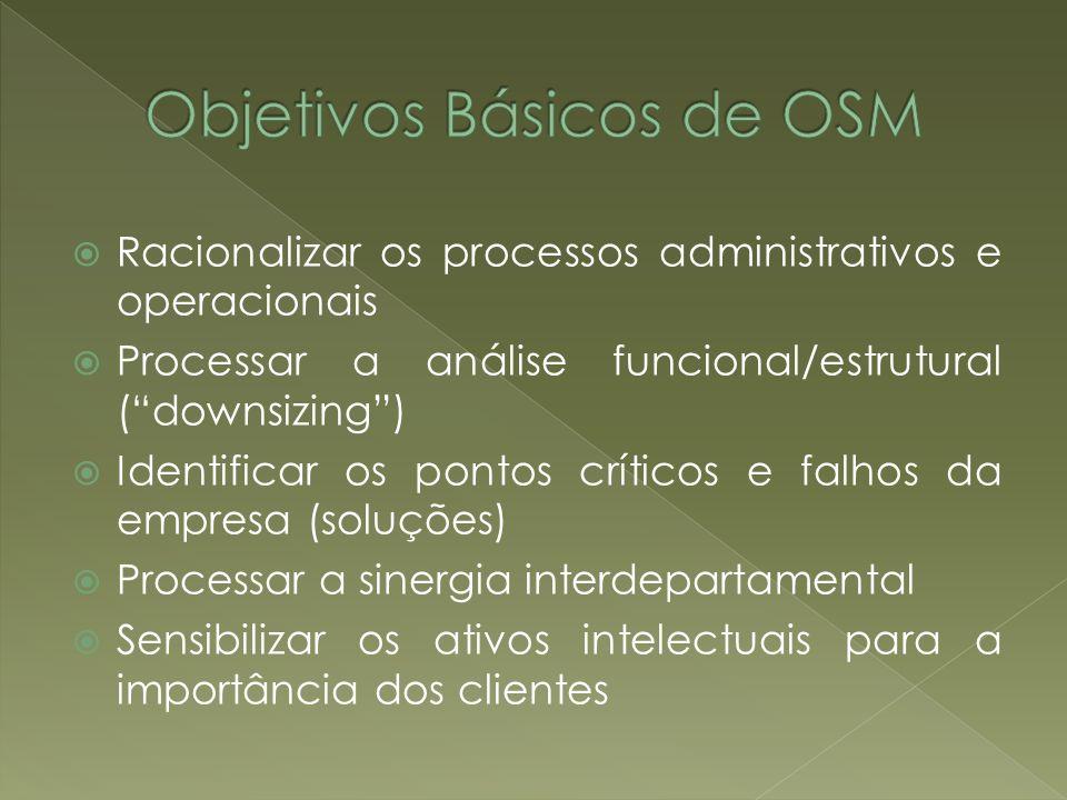 Racionalizar os processos administrativos e operacionais Processar a análise funcional/estrutural (downsizing) Identificar os pontos críticos e falhos