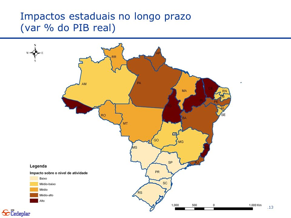 Impactos estaduais no longo prazo (var % do PIB real) 113