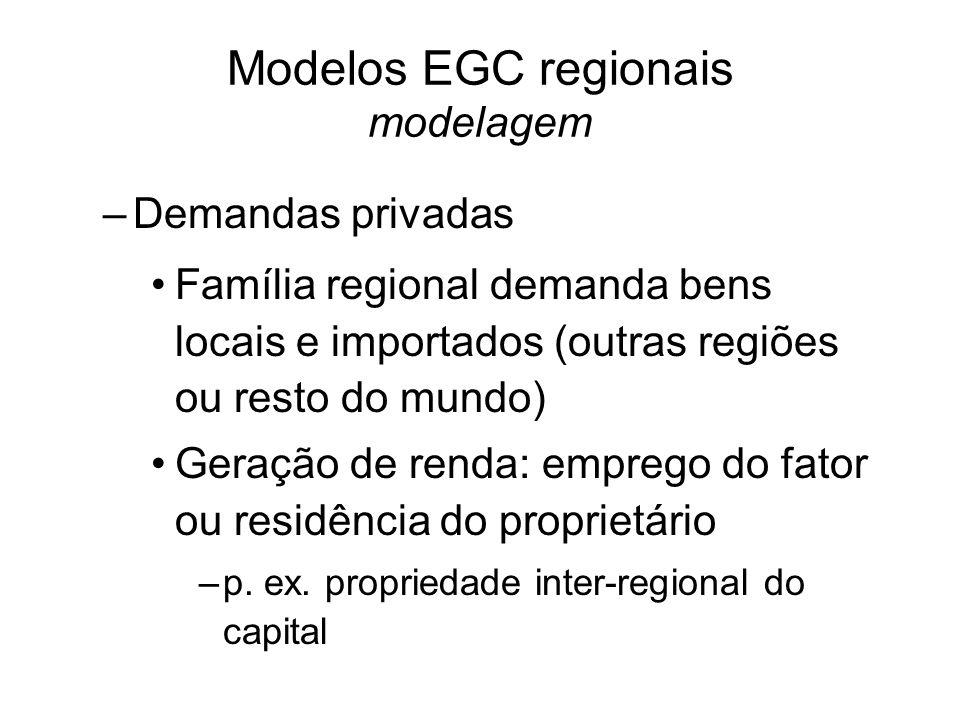–Demandas privadas Família regional demanda bens locais e importados (outras regiões ou resto do mundo) Geração de renda: emprego do fator ou residência do proprietário –p.