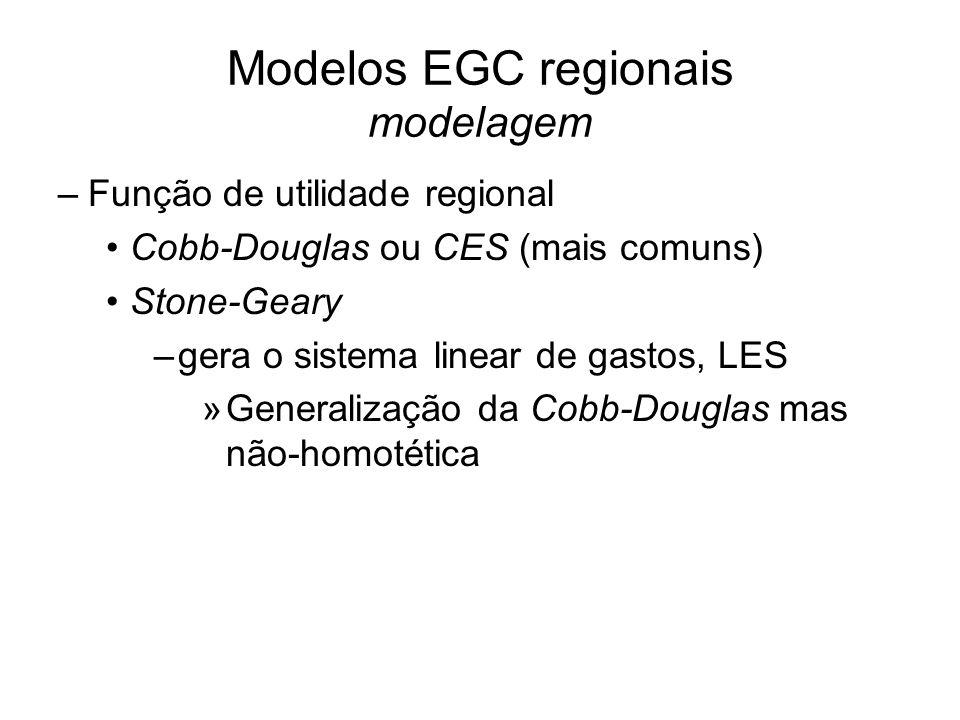 Modelos EGC regionais modelagem –Função de utilidade regional Cobb-Douglas ou CES (mais comuns) Stone-Geary –gera o sistema linear de gastos, LES »Generalização da Cobb-Douglas mas não-homotética