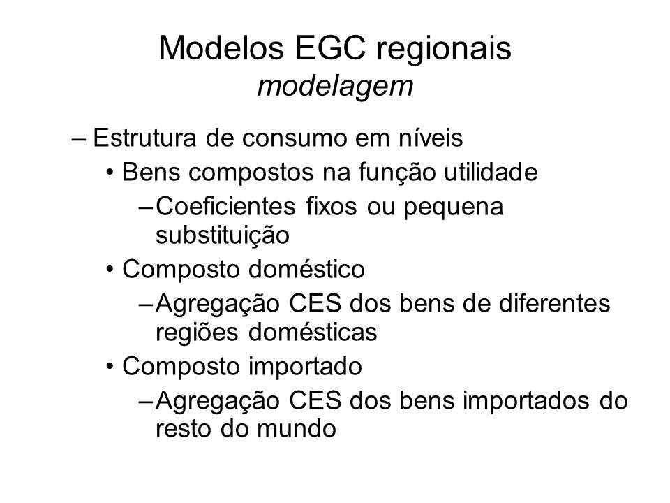 Modelos EGC regionais modelagem –Estrutura de consumo em níveis Bens compostos na função utilidade –Coeficientes fixos ou pequena substituição Composto doméstico –Agregação CES dos bens de diferentes regiões domésticas Composto importado –Agregação CES dos bens importados do resto do mundo