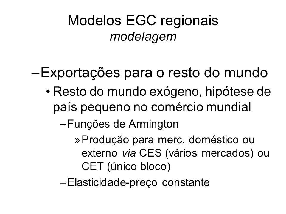 Modelos EGC regionais modelagem –Exportações para o resto do mundo Resto do mundo exógeno, hipótese de país pequeno no comércio mundial –Funções de Armington »Produção para merc.