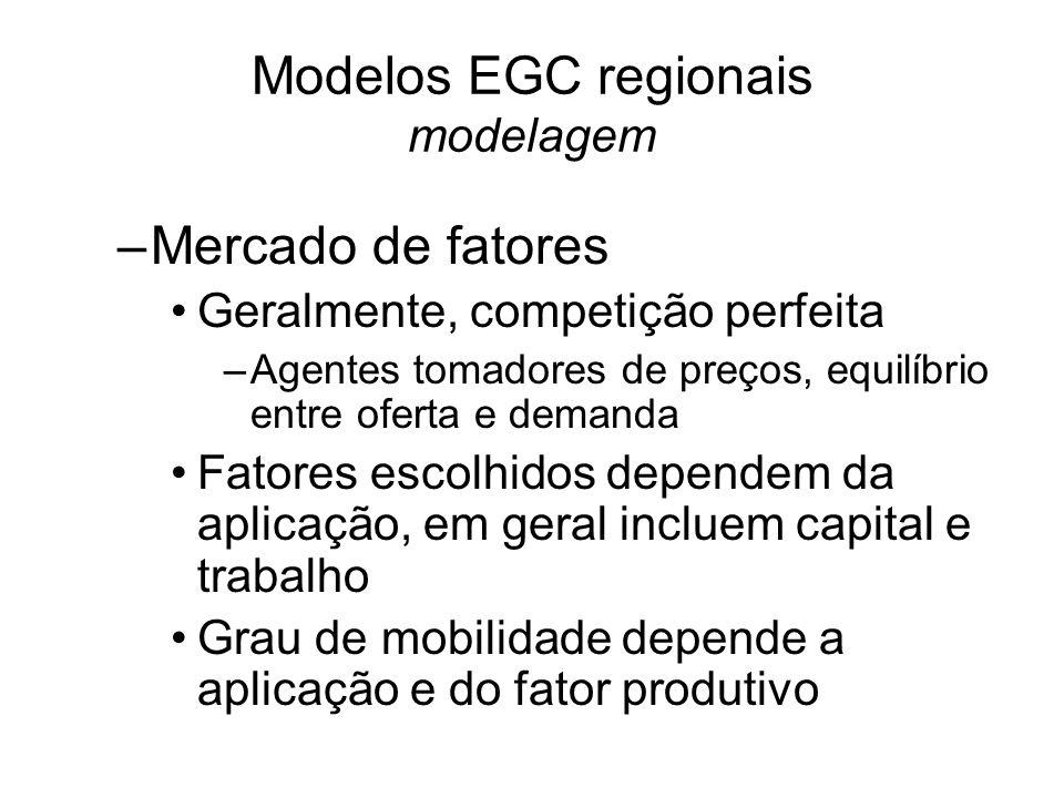 Modelos EGC regionais modelagem –Mercado de fatores Geralmente, competição perfeita –Agentes tomadores de preços, equilíbrio entre oferta e demanda Fatores escolhidos dependem da aplicação, em geral incluem capital e trabalho Grau de mobilidade depende a aplicação e do fator produtivo