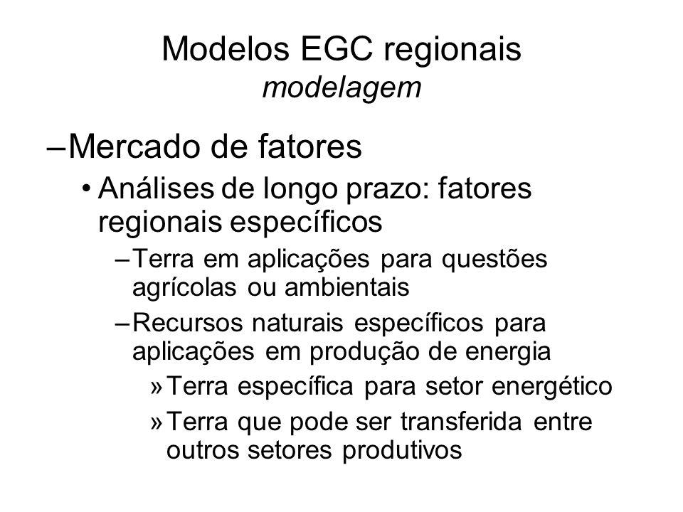 Modelos EGC regionais modelagem –Mercado de fatores Análises de longo prazo: fatores regionais específicos –Terra em aplicações para questões agrícolas ou ambientais –Recursos naturais específicos para aplicações em produção de energia »Terra específica para setor energético »Terra que pode ser transferida entre outros setores produtivos