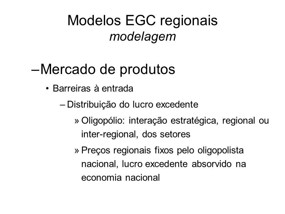 Modelos EGC regionais modelagem –Mercado de produtos Barreiras à entrada –Distribuição do lucro excedente »Oligopólio: interação estratégica, regional ou inter-regional, dos setores »Preços regionais fixos pelo oligopolista nacional, lucro excedente absorvido na economia nacional