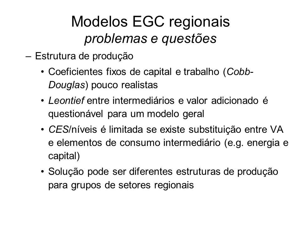Modelos EGC regionais problemas e questões –Estrutura de produção Coeficientes fixos de capital e trabalho (Cobb- Douglas) pouco realistas Leontief entre intermediários e valor adicionado é questionável para um modelo geral CES/níveis é limitada se existe substituição entre VA e elementos de consumo intermediário (e.g.