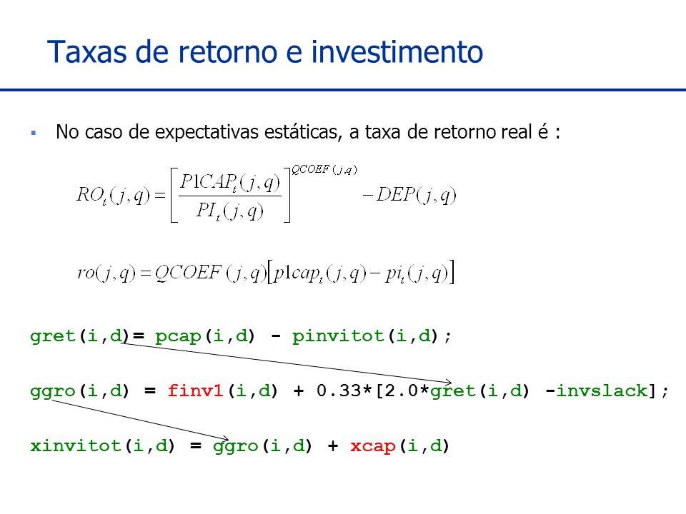 Taxas de retorno e investimento No caso de expectativas estáticas, a taxa de retorno real é : gret(i,d)= pcap(i,d) - pinvitot(i,d); ggro(i,d) = finv1(i,d) + 0.33*[2.0*gret(i,d) -invslack]; xinvitot(i,d) = ggro(i,d) + xcap(i,d)